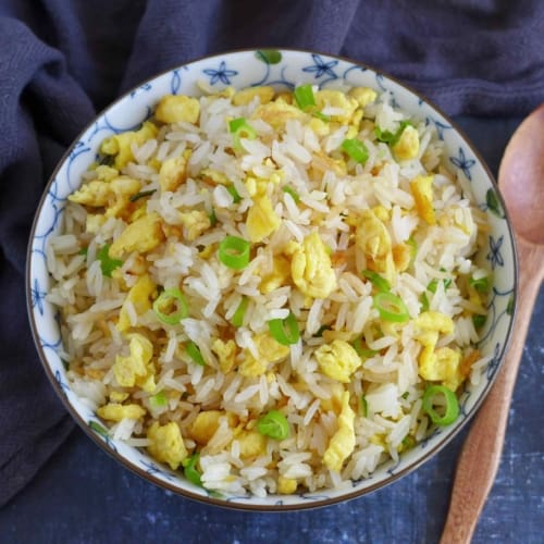 fried rice with egg and scallions.