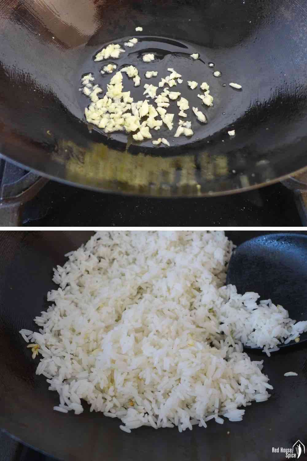 Frying garlic and rice in a wok.